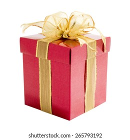 Red gift box with gift ribbon isolated on white