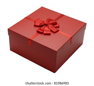Red gift box with ribbon from top corner view