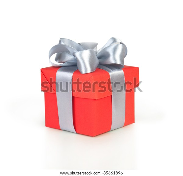 red gift box with silver ribbon isolated on white