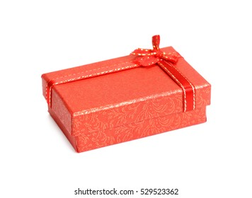 red gift box with white red ribbon bow isolated on white background