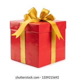 Red gift with golden bow on white background