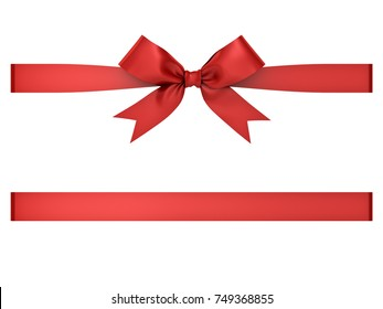 Red gift ribbon bow isolated on white background . 3D rendering.
