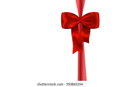 Red gift ribbon with luxurious bow isolated on white background. Best for gift boxes and cards. Bow on ribbon gift and holiday set