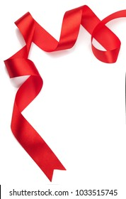 red gift ribbon on a white background