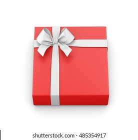red gift with ribbon on white background 3d rendering
