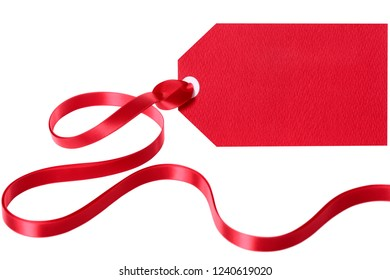 Red gift tag label with ribbon