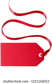 Red gift tag or price ticket with ribbon isolated vertical