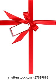 Red Gift Wrapped WIth Ribbon and Tag For Your Own Design