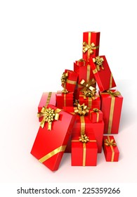 Red gifts with golden bow and ribbons on white background . Christmas or Birthday 3d illustration.