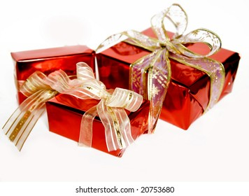 Red gifts isolated on white