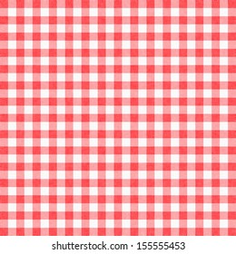 Red gingham tablecloth background or texture