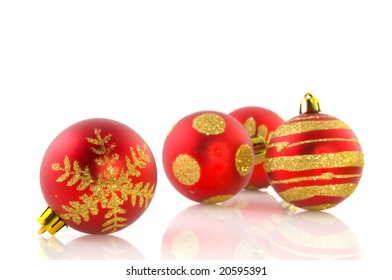 red glass christmas balls isolated