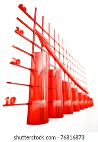 red glass columns of diagram with arrow rising upwards
