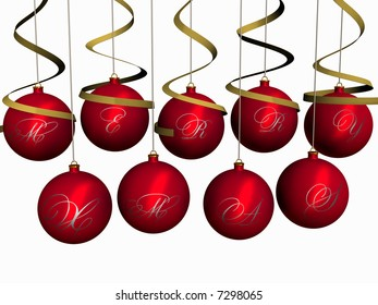 Red glass-balls with inscription Merry Christmas hang with ribbons. 3 dimensional model