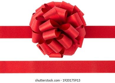 Red glitter bow and tape on white background , clipping path included