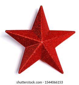Red glitter star shaped christmas decoration isolated on white background