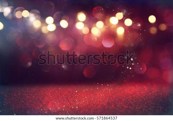 Red glitter vintage lights background. defocused