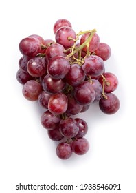 Red Globe (grape variety) placed on a white background. View from directly above.