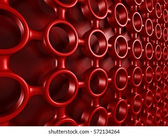 Red glossy abstract futuristic shapes pattern background. 3d render illustartion
