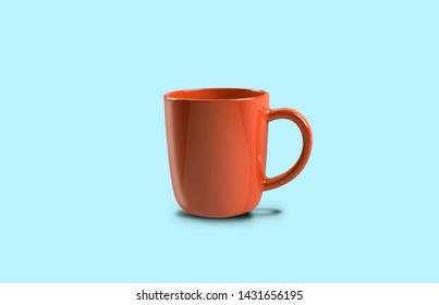 Red Glossy Cup against light blue background, Coffee, Tea, caffeine Drink
