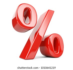 Red glossy percent symbol. 3d illustration isolated over white background, three-dimensional rendering.