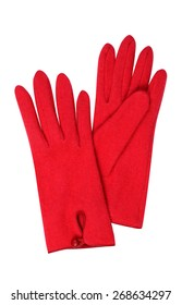 Red gloves isolated on white