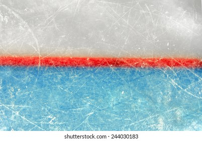 Red goal line on ice rink. Top View