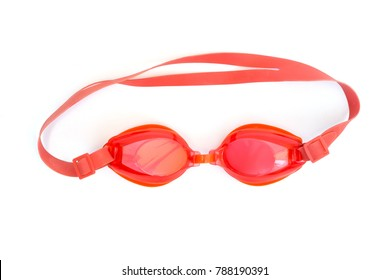 red goggle use in swimming pool on white background (top view)
