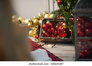 Red gold Christmas balls 2017, xmas, new year santa claus, in wooden box