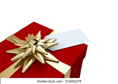 Red and gold christmas gift on white background