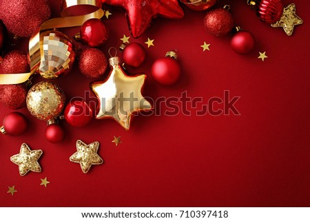 red and gold christmas ornaments - Red And Gold Christmas Ornaments