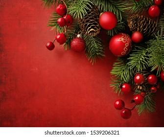 rote und goldene Weihnachtsschmuck, Kopienraum für Text