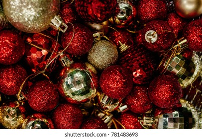 a lot of red and gold christmas tree decorations christmas motifs new year tree