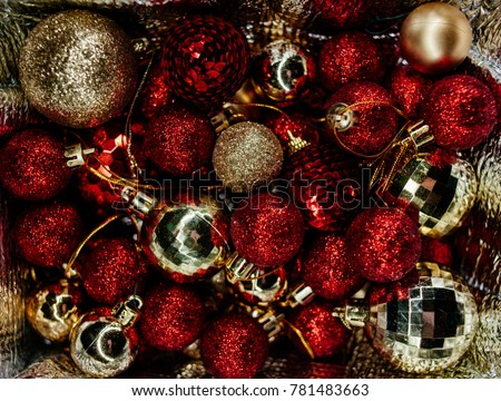 a lot of red and gold christmas tree decorations christmas motifs new year tree - Christmas Tree Toy Decorations