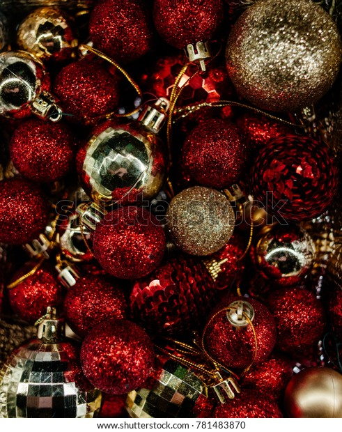 Red And Gold Christmas Tree.Red Gold Christmas Tree Decorations Christmas Stock Photo