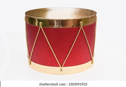 Christmas Drum Decor.Christmas Red Drum Gold Images Stock Photos Vectors