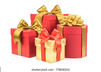 red and gold gift boxes on white background.