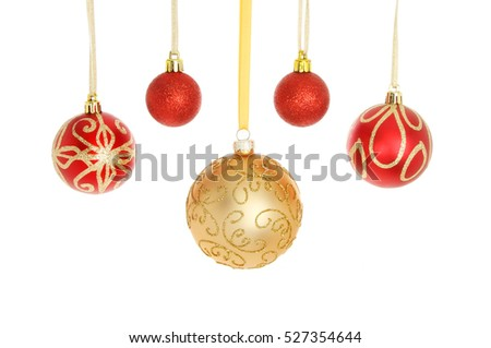 6cbc2529e185 Red Gold Glitter Christmas Baubles Isolated Stock Photo (Edit Now ...