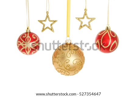 963e82228f94 Red and gold glitter Christmas baubles and stars isolated against white
