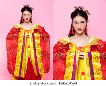 Red Gold lace of Chinese Traditional Costume Opera or South East Asia Reddish Dress in Asian Woman with mulan portrait in many poses under Studio lighting Pink background, collage group pack
