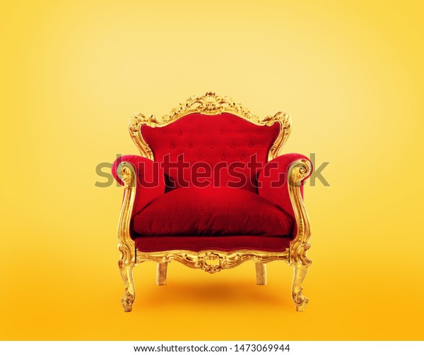 Red and gold luxury armchair. Concept of success