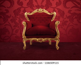 Red and gold luxury armchair into an old room