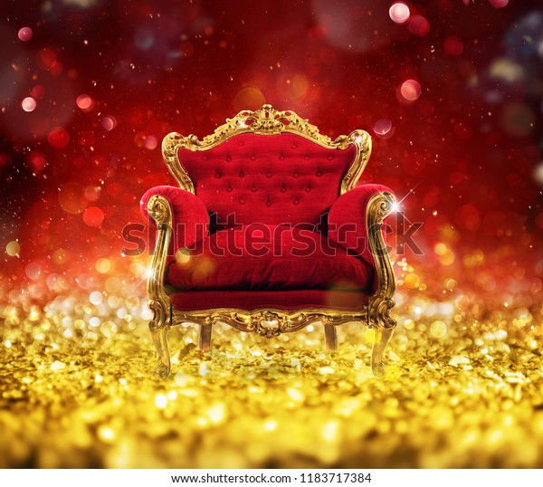 Red and gold luxury armchair into an sparkle room