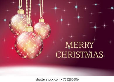 red gold merry christmas card