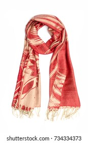 red and gold women's scarf with pattern isolated on white