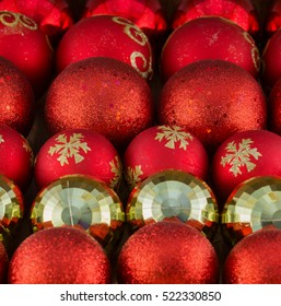 Red and Golden Christmas Balls Background. Square, Selective Focus.
