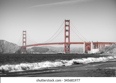 Red Golden Gate Bridge in San Francisco, black and white filter.