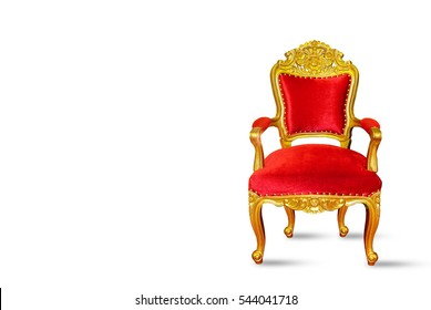 Red and golden luxury chair isolated on white background with space for texts display