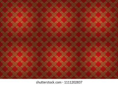 Red and golden pattern. Elegant raster classic golden seamless pattern. Seamless abstract background with golden repeating elements.