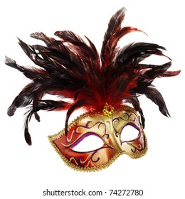 red and golden venetian mask (isolated on white)